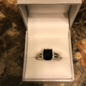 AUTHENTIC BLACK ONYX & DIAMOND DAVID YURMAN RING